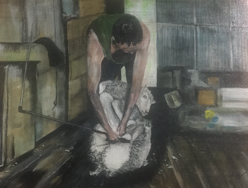 (CreativeWork) The shearer by Geoff Lugg. Acrylic Paint. Shop online at Bluethumb.
