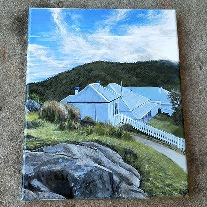 (CreativeWork) Lighthouse Keeper's Cottages at Smokey Cape by Lisa Gaudron. Acrylic Paint. Shop online at Bluethumb.