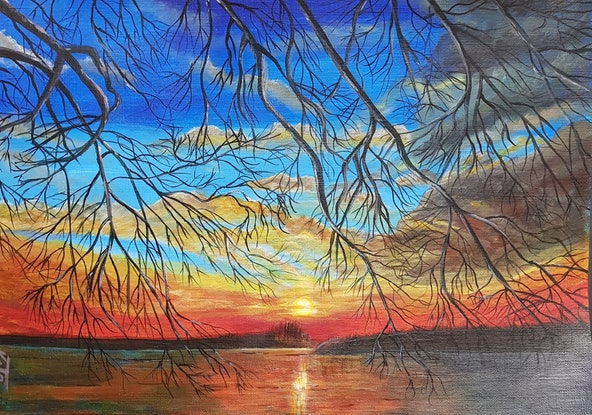 "(CreativeWork) ""Sunrise over the Danube"" by Katya Catalinac. Acrylic Paint. Shop online at Bluethumb."