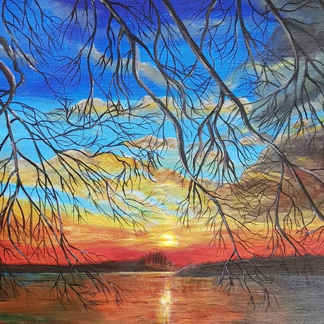 """(CreativeWork) """"Sunrise over the Danube"""" by Katya Catalinac. Acrylic Paint. Shop online at Bluethumb."""