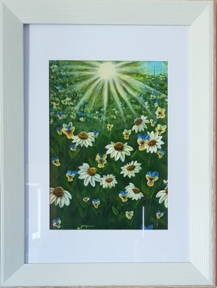 """(CreativeWork) """"Field flowers"""" by Katya Catalinac. Acrylic Paint. Shop online at Bluethumb."""