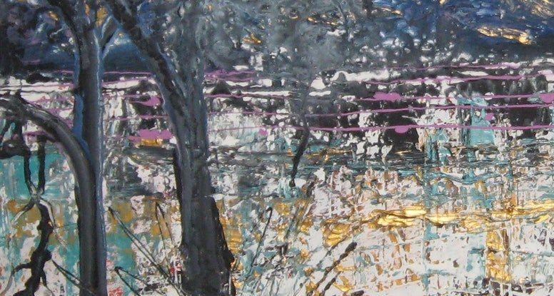 (CreativeWork) River trees in  abstract by Lynne ( Dorothy Lynne) Pickering. Acrylic Paint. Shop online at Bluethumb.