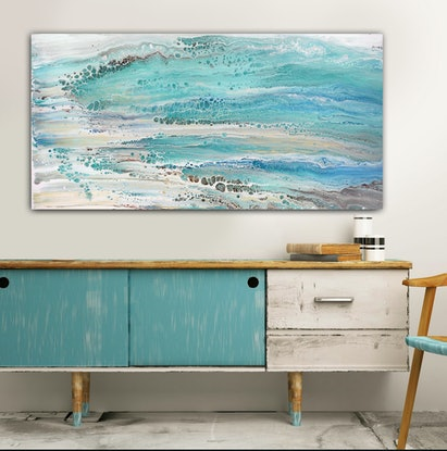 (CreativeWork) Beachscape #1 by Brigitte Ackland. Acrylic Paint. Shop online at Bluethumb.