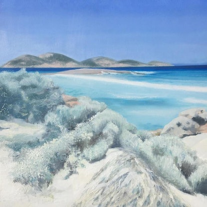 (CreativeWork) The Far Side of Lucky Bay by Karina Buckingham. Oil Paint. Shop online at Bluethumb.