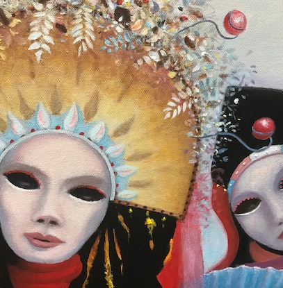 (CreativeWork) Carnival Costumes Venice. by Howard Sparks. Oil Paint. Shop online at Bluethumb.