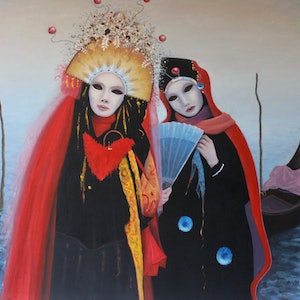 (CreativeWork) Carnival Costumes Venice. by Howard Sparks. oil-painting. Shop online at Bluethumb.