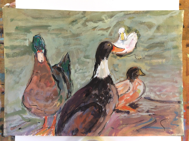 (CreativeWork) Love Ducks by Gaye Shield. Mixed Media. Shop online at Bluethumb.