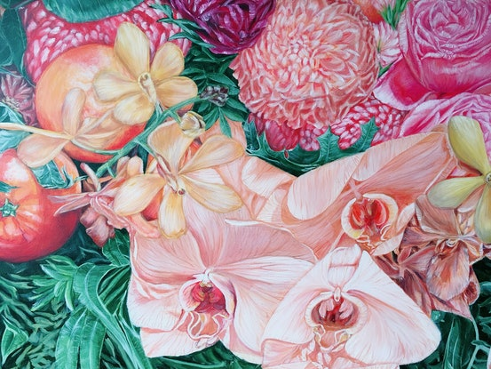 (CreativeWork) A LIFE TIME JOURNEY - Orchids, Oranges And Chrysanthemums- A1 Size Easy To Frame  Ed. 26 of 100 by HSIN LIN. Print. Shop online at Bluethumb.