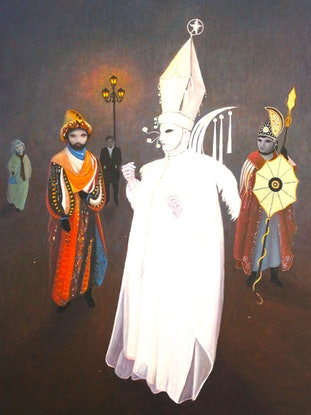 (CreativeWork) The Bishop and the Warriors. by Howard Sparks. Acrylic Paint. Shop online at Bluethumb.