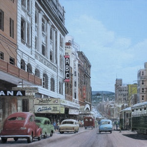 (CreativeWork) GPO Tram Terminus, Hobart c.1958 Ed. 1 of 1 by Michael Bessell. print. Shop online at Bluethumb.