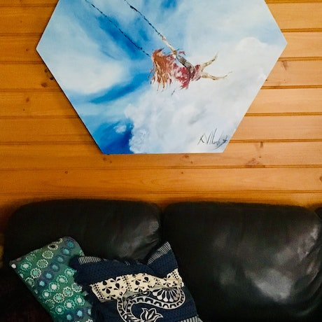 (CreativeWork) Fly High by Kerri Humby. Acrylic Paint. Shop online at Bluethumb.