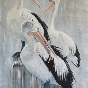 (CreativeWork) The Trio - Pelicans by Naomi Veitch. arcylic-painting. Shop online at Bluethumb.