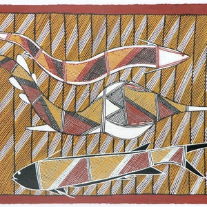 (CreativeWork) Djenj (fish) 5851-17 by Dennis Naroldol. arcylic-painting. Shop online at Bluethumb.