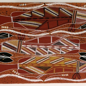 (CreativeWork) Namarnkol (Barramundi) 4762-18 by William Manakgu. acrylic-painting. Shop online at Bluethumb.