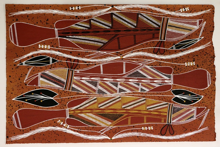 (CreativeWork) Namarnkol (Barramundi) 4762-18 by William Manakgu. arcylic-painting. Shop online at Bluethumb.