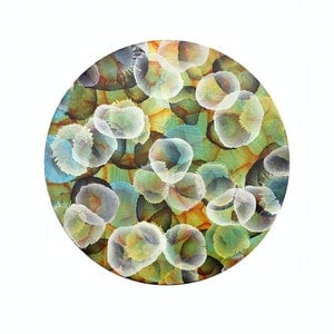 (CreativeWork) Bio-Cluster Sphere X - Round Abstract Painting by Jacquelyn Stephens. mixed-media. Shop online at Bluethumb.