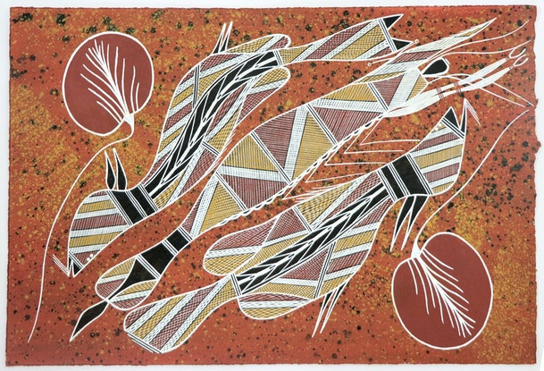 (CreativeWork) Kulabbarl (Billabong) 6006-18 by William Manakgu. Acrylic Paint. Shop online at Bluethumb.