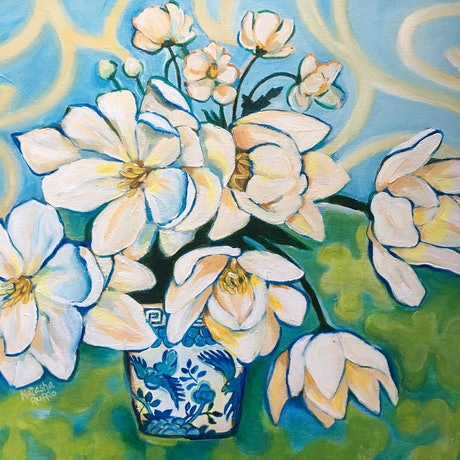 (CreativeWork) Still Life Creamy Blooms  in Chinese Vase by Natasha Ruffio. Acrylic Paint. Shop online at Bluethumb.