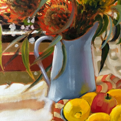 (CreativeWork) Still life with French Canisters  by kirsty mcintyre. Oil. Shop online at Bluethumb.