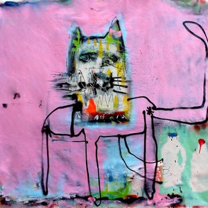 (CreativeWork) THE CAT THAT GOT THE CREAM by James Green. mixed-media. Shop online at Bluethumb.