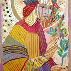 (CreativeWork) Angel Gabriel. Patron Of All Creatives. by Laura Vecmane. arcylic-painting. Shop online at Bluethumb.