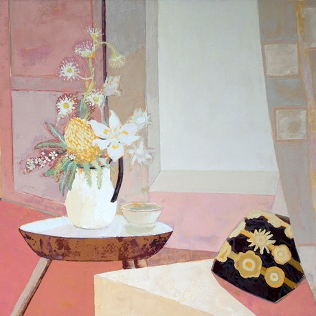 (CreativeWork) Interior With Australian Flowers by Laura Vecmane. Oil Paint. Shop online at Bluethumb.