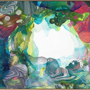 (CreativeWork) Green Grotto by Amanda Krantz. arcylic-painting. Shop online at Bluethumb.