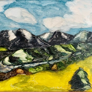 (CreativeWork) My Little Valley  by Tym Yee. oil-painting. Shop online at Bluethumb.