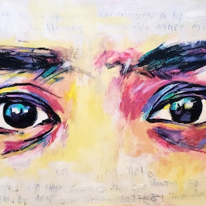 (CreativeWork) See her eyes speak by Rebecca lam. arcylic-painting. Shop online at Bluethumb.