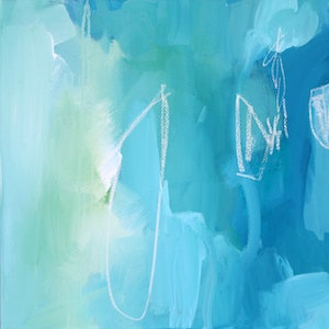 (CreativeWork) Candlelight - Square, blue, green, sage, contemporary abstract by Stephanie Laine. mixed-media. Shop online at Bluethumb.