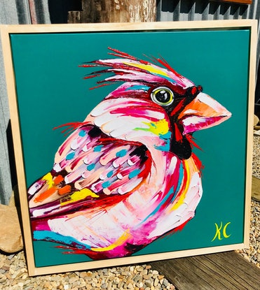 (CreativeWork) Cardinal by Kylie Cuthbertson. Oil Paint. Shop online at Bluethumb.