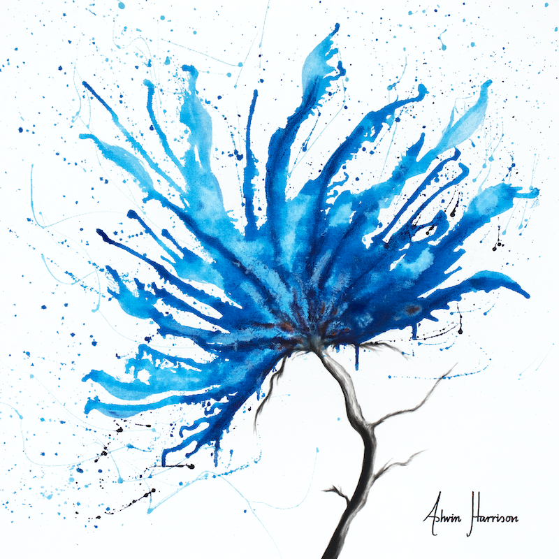 (CreativeWork) Blue Sea Flower by Ashvin Harrison. arcylic-painting. Shop online at Bluethumb.