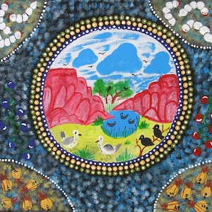 (CreativeWork) Landscape with bush tucker, ngur10rnn10106 by Rosabelle Namatjira. arcylic-painting. Shop online at Bluethumb.