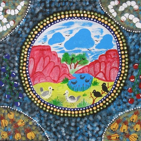 (CreativeWork) Landscape with bush tucker, ngur10rnn10106 by Rosabelle Namatjira. Acrylic Paint. Shop online at Bluethumb.