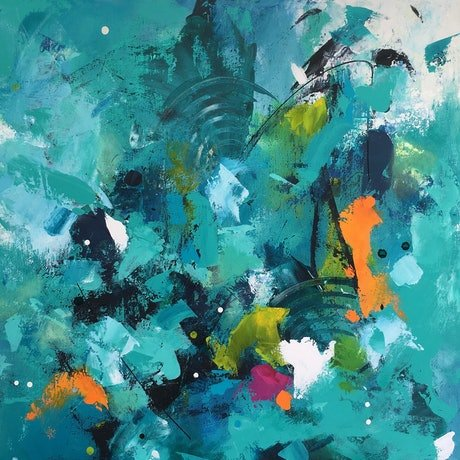 (CreativeWork) Ocean Life 4 by Christine Donaldson. Acrylic Paint. Shop online at Bluethumb.