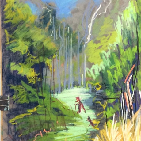 (CreativeWork) The bushwalk. by Gaye Shield. Other Media. Shop online at Bluethumb.