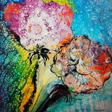 (CreativeWork) Abstract Flowers by Debra Vivarini. Mixed Media. Shop online at Bluethumb.