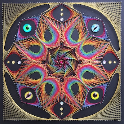 (CreativeWork) Psychedelic Star with Eyes by Eve Cowley. mixed-media. Shop online at Bluethumb.
