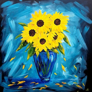(CreativeWork) Sunflower  Love - Still Life of Flowers in a Vase by Angela Hawkey. arcylic-painting. Shop online at Bluethumb.