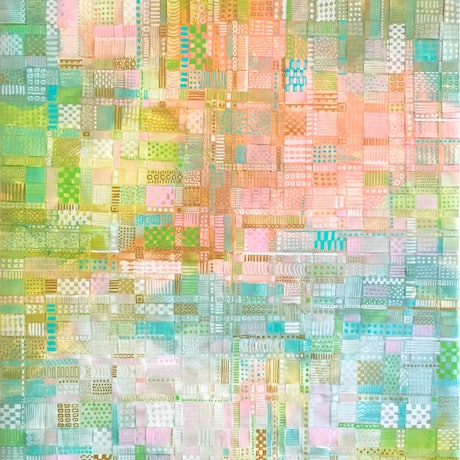 (CreativeWork) Summer Fields - woven recycled paper abstract painting by Jennifer Bell. Mixed Media. Shop online at Bluethumb.