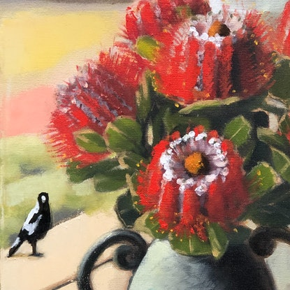 (CreativeWork) Still life with Scarlet Banksias (framed) by kirsty mcintyre. Oil Paint. Shop online at Bluethumb.