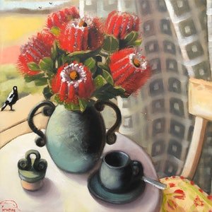 (CreativeWork) Still life with Scarlet Banksias (framed) by kirsty mcintyre. oil-painting. Shop online at Bluethumb.