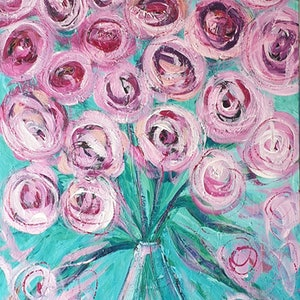 (CreativeWork) Flowers In A Vase - Long Still Life Abstract Painting by Angela Hawkey. arcylic-painting. Shop online at Bluethumb.