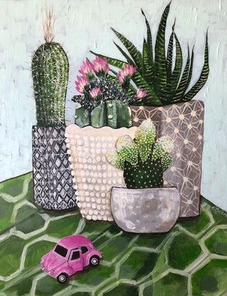 (CreativeWork) Cactus Collection and a Pink Vdub by Emma Ward. Acrylic Paint. Shop online at Bluethumb.