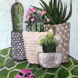 (CreativeWork) Cactus Collection and a Pink Vdub by Emma Ward. arcylic-painting. Shop online at Bluethumb.
