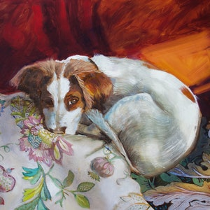 (CreativeWork) A patch of light, Brittany spaniel dog  by fiona smith. oil-painting. Shop online at Bluethumb.