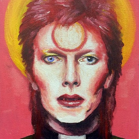 (CreativeWork) Father Bowie by Alice Mayqueen. Acrylic Paint. Shop online at Bluethumb.