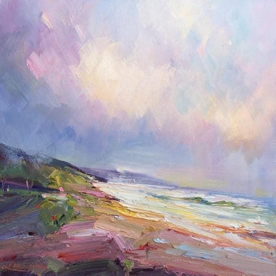 (CreativeWork) Portsea - The Back beach No 13 by Liliana Gigovic. oil-painting. Shop online at Bluethumb.