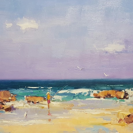 (CreativeWork) The Fisherman. Coolum. Qld. by Barry Back. Oil Paint. Shop online at Bluethumb.