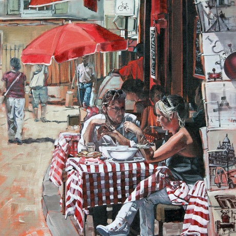 (CreativeWork) Parisian Cafe by Claire McCall. Oil Paint. Shop online at Bluethumb.